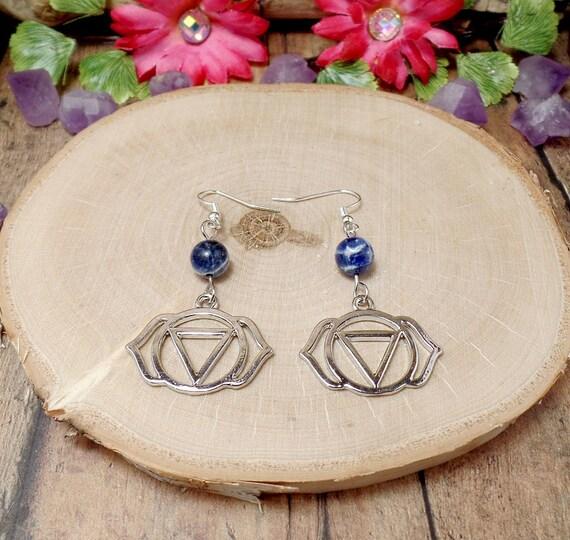 Third Eye Chakra Earrings - Lapis Earrings - Gemstone Earrings
