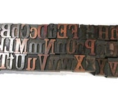 "Vintage Wooden Letterpress Type Blocks YOUR CHOICE 1  5/16"" Caps and Lowercase Wood Letterpress Type Alphabet A-Z Home Decor Supplies (R100)"