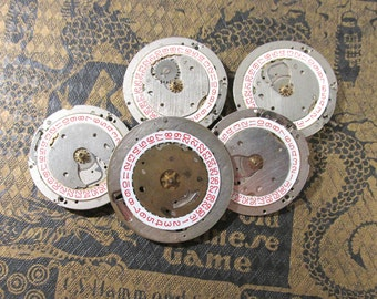Watch Parts Date Plate VINTAGE Five (5) Watch Mechanical Movements Jewels Gears Day Date Plates Watch Gears Watch Jewelry Supplies (G178)