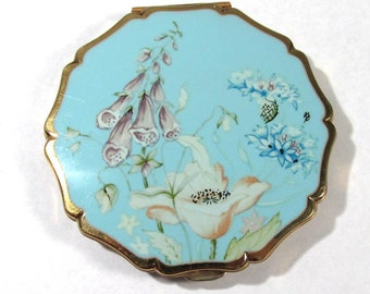 VINTAGE Stratton Compact Powder Made in England Scalloped Edge Blue Flowers Floral STRATTON Compact Makeup Case (F114)