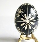 Black and White egg ornament Pysanka Ukrainian Easter egg batik painted chicken egg shell