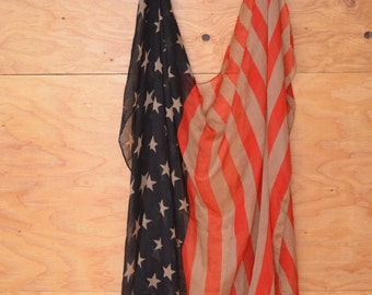 Vintage Beautiful Black Red & Tan Stars And Stripes Sheer Flag Extra Large Scarf Wrap