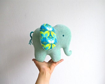 READY TO SHIP, elephant, organic, soft, plush, green, mint color, baby, gift, eco friendly, turquoise, teal, cuddly