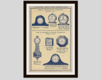 Antique Clocks Advertisement, Office Decor, Wall Art, Retro Ad, Home Decor, Vintage Illustration, Depression Era Catalog, 1930s, (1/2)