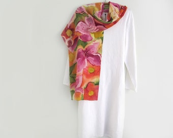 Sunny Crepe De Chine Floral Scarf, Hand- Painted, One of a Kind , Orange - Reds -Pinks, Long
