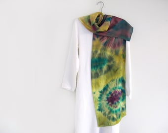 Crepe de Chine  Silk  Scarf, Hand-dyed Shibori technique, multi-colored, abstract,