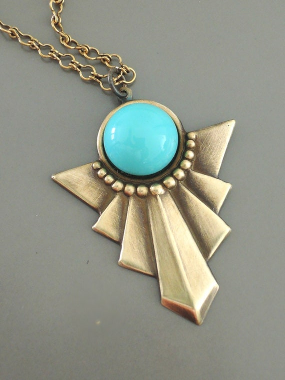 Art Deco Necklace Turquoise Necklace By Chloesvintagejewelry
