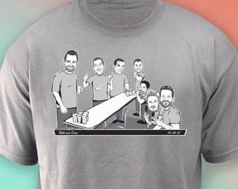 Pong Shirt, Groomsmen custom caricature T-shirt gift