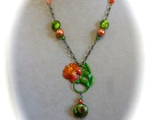 Pendant Necklace Hand Painted Flower and Vintage Cloisonné on Hand Made Chain in Green and Coral Pink