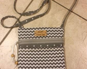 Cross body bag, Hipster bag, shoulder bag, sling bag, purse, in block colors, Front pocket, gray and white Chevron and Polk a dots