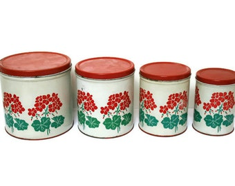 Vintage Canisters / Red and Green Retro Kitchen Storage / Mid Century Canister Set
