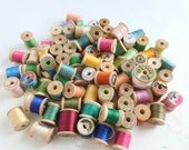 Wooden Spools Sewing Thread Lot in Assorted Colors Notions Destash