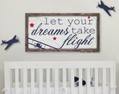 Let Your Dreams Take Flight  Horizontal Nursery Framed Wood Sign
