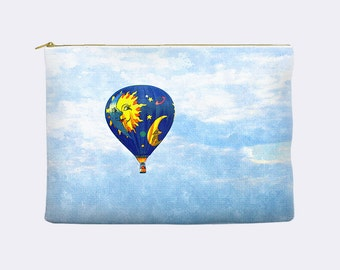 Hot Air Balloon  pencil case, makeup bag, cosmetic bag, large pencil case, zippered pouch,cosmetic pouch, pencil pouch, pencil bag