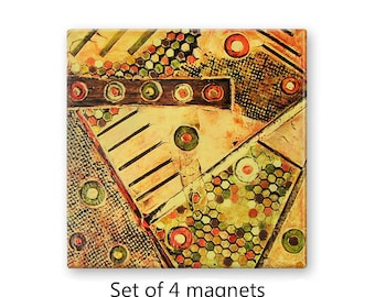 Fridge magnet set, refrigerator magnets, set of 4, kitchen decor, office decor, large magnets, brown and yellow abstract art magnets
