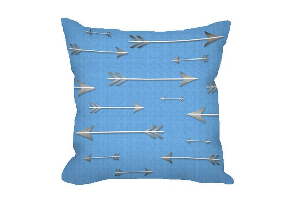 Sky Blue Decorative Pillows : Items similar to Decorative Pillow Cover, sky blue pillow cover, throw pillow, arrows, novelty ...
