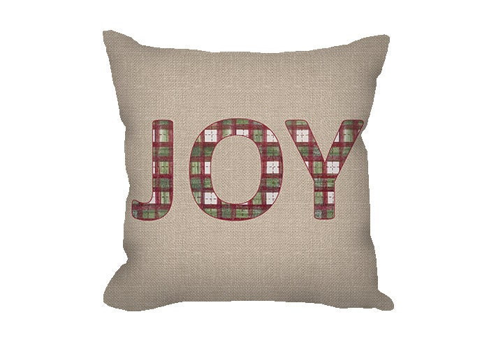 Joy Christmas Throw Pillows : Christmas pillow cover JOY pillow throw pillow by FischerFineArts