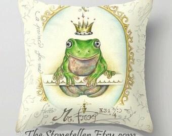 "Pillow..PRINT art..A prince for me. PrinceFrog - woodland art - fine art -living room - childrens room - nursery - babies - """" rED fISH """""