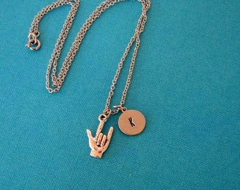 personalized ASL love necklace . american sign language I love you hand with custom initial charm
