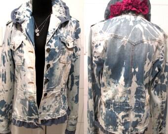 Bleached  Denim Jacket.  Destroyed Denim Jacket.  Ruffle Denim Jacket.  Floral Denim Jacket. Bleached Denim.
