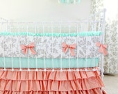 Peach Mint Gray Crib Bedding Set, Woodland Birds Baby Bedding for a Custom, Baby Girl Nursery Design, Botanical Leafy Dreams Crib Set