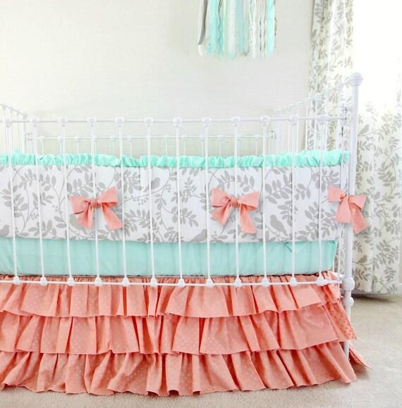 peach mint gray crib bedding set woodland birds baby bedding. Black Bedroom Furniture Sets. Home Design Ideas