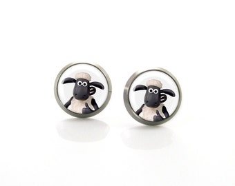 Shaun Sheep Titanium Post Earrings | Hypoallergenic Sensitive Stud | Titanium Baby Stud Earrings | Funny Girls earrings  Children Earrings
