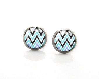 Chevron Zig Zag Turquoise Aqua blue Titanium Post Earrings | Hypoallergenic Earring Stud | Titanium Earring | Sensitive jewelry post studs
