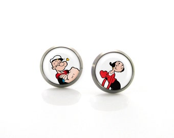 Titanium Post Earrings Popeye And Olive | Hypoallergenic Earrings for Sensitive Ears | Cute Baby Girls Kids Children Tiny Disney earrings