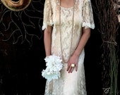 Vintage 1980's Tea Dyed Lace Dress, Alternative Bridal Wear, 80's Lace Bridal Wear, 1920's Inspired Bridal Lace Dress