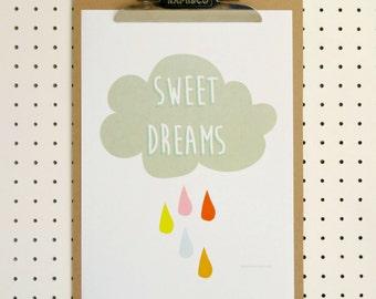 Sweet Dreams Cloud Nursery Print A4