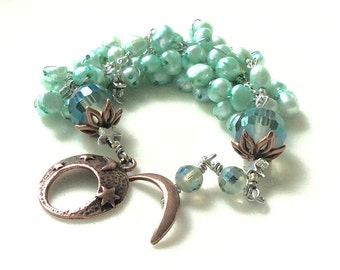 Moonstar / teal pearl bracelet  copper accents / layered wirework wire wrapped gift