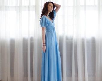70s Maxi Dress - Vintage 1970s Bell Sleeve Dress - Big Sky Dress