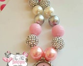 CTR Pink and Silver- Chunky Necklace- Chunky bubblegum necklace, Girls chunky necklace, Gumball necklace, Bottle Cap necklace