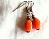 Orange Earrings Antiqued Copper Earrings Ceramic Earrings Beaded Earrings Drop Earrings