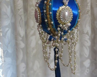 Vintage GORGOUS Beaded Ornament-Walco-June Zimonick-Royal Blue-Drop Pearls