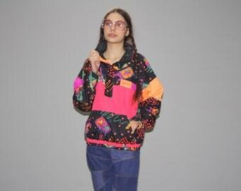 1990s Vintage Obermeyer Sport Neon Tribal  Ski Jacket  -  Vintage 90s Neon  Jacket  - Vintage Neon Ski Coats - WO0607