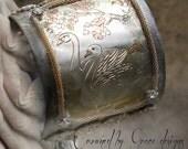 Swan Lake bracelet~ vintage assemblage bracelet swan boho cuff old world one of a kind crowned by grace Chokin Art
