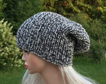 Knit beanie slouch for women men  -  oversized slouchy hat - knit slouch hat - chunky winter hat  - slouch beanie accessories