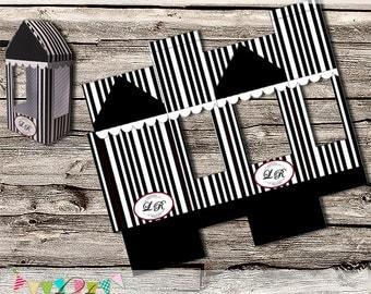 Customised Monogrammed Wedding Favour Box - Small Gift Box - Cake Pop Box - Display Box - Printable - Digital File