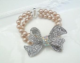 Champagne pearl Bracelet Bow Bracelet rhinestone bridal Bracelet swarovski pearl Bridal Rhinestone Bracelet wedding Bracelet ANASTASIA