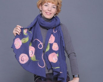 Felted Wraps Scarf -  felted shawl - women's scarf - felted fashion - Gift  for her