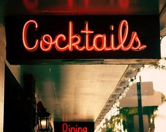 Mad Men Era Bar Decor - Cocktails Dining - red green black neon sign kitchen decor midcentury modern