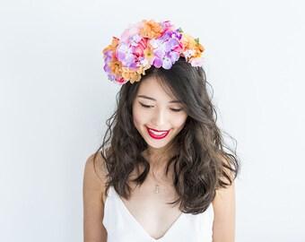 orange pink purple floral headpiece // Lei / statement flower crown, spring garden wedding party, spring racing fascinator, romantic