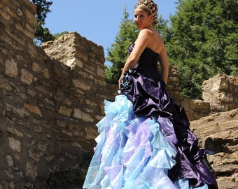 Purple Wedding Dress With Blue And Organza Accents