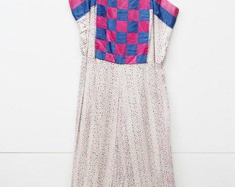 Dollie, French Vintage, 1970s White Polka Dot Party Midi Dress, from Paris