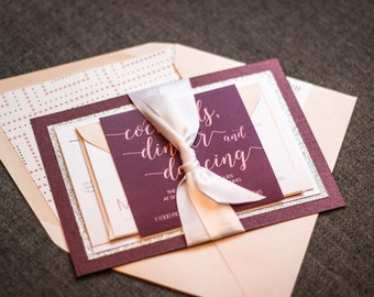 "Burgundy and Blush Wedding Invitation, Modern Wedding Invitations with Glitter, Layered Wedding Invites - ""Whimsical Calligraphy"" FP-2L-v1"