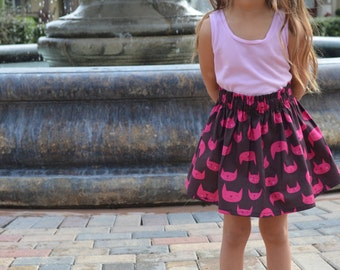 Cat Lady High Waisted Toddler Girls Skirt 3T Ready to Ship
