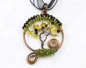Copper Wire Wrap Tree of Life Pendant Wire Wrapped With a Bird OOAK - T12