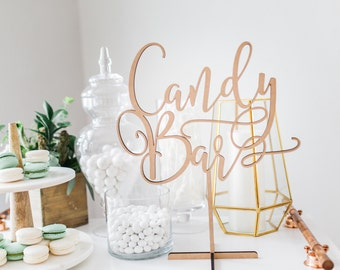 Candy Bar Sign for Wedding Dessert Table, Standing or Gold & More, Wedding or Party Dessert Candy Table Favor Reception Sign (Item - LCB150)
